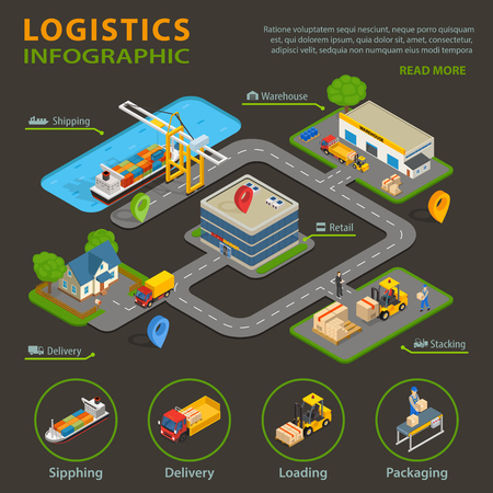 Logistic infographic set with cargo and goods delivery process vector illustration Stock Vector - 81890507