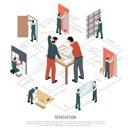 Process of house renovation isometric 3d infographics on white background vector illustration Çizim