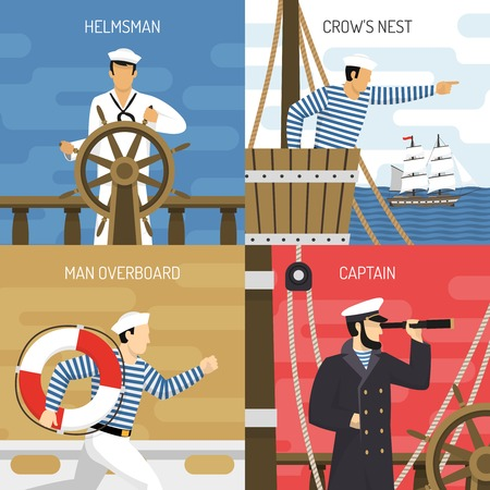 Sail ship crew members at work 4 flat icons square with helmsman captain sailors vector illustration
