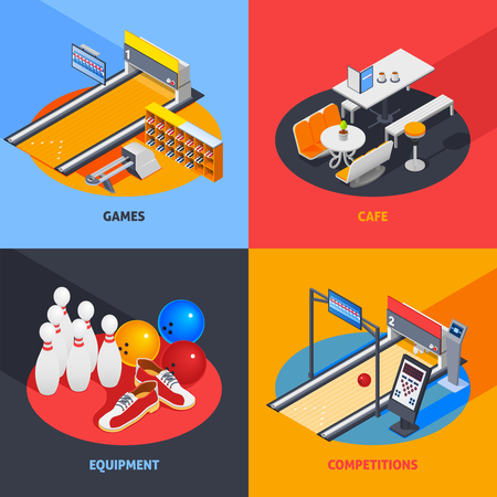 Bowling colorful isometric compositions including game equipment with return system, cafe, sports gear, competitions isolated vector illustration