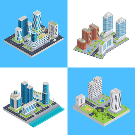 Modern city isometric compositions with commercial buildings and residential houses road infrastructure and transportation isolated vector illustration Illustration