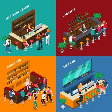Les gens en bar 2x2 design concept d'intérieurs avec étagères chaises barmen et invités isométrique illustration vectorielle Banque d'images - 82189901