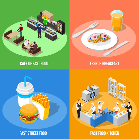 Fast food 2x2 design concept with cafe interior french breakfast street food and fast food kitchen Isometric square compositions vector illustration