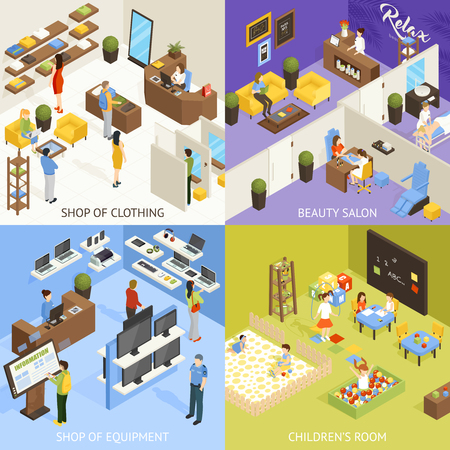 shopping center interior: Shopping mall electronics store children playroom beauty salon 4 isometric icons square concept poster isolated vector illustration