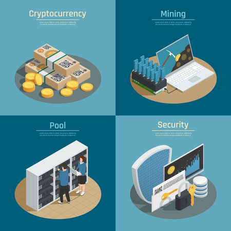 Isometric compositions with mining of cryptocurrency, coins and banknotes, pool of system users, security isolated vector illustration