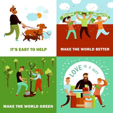 Concept de conception de bénévoles avec quatre compositions de dessin animé plat et caractères humains des jeunes avec illustration vectorielle de texte