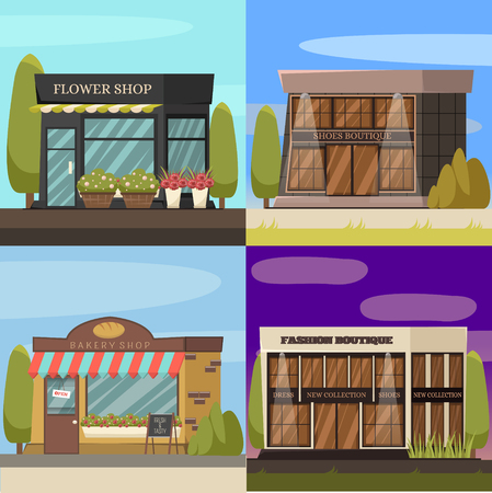 Shops concept icons set with bakery and flower shop symbols vector illustration