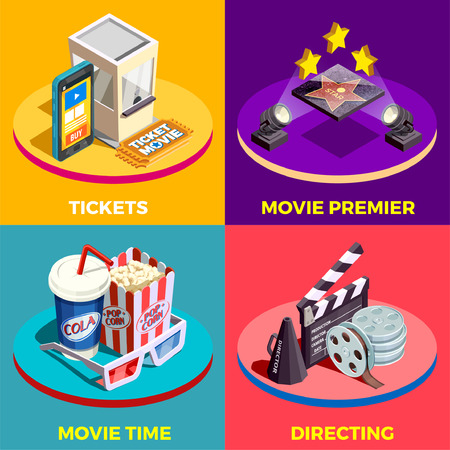 Cinema isometric design concept with compositions of movie industry elements light equpiment tickets food and drink vector illustration