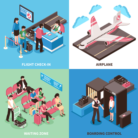 Airport departure concept 4 isometric icons square poster with flight check in and boarding control isolated vector illustration