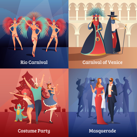 social gathering: Carnival party concept icons set with costume party symbols flat vector illustration