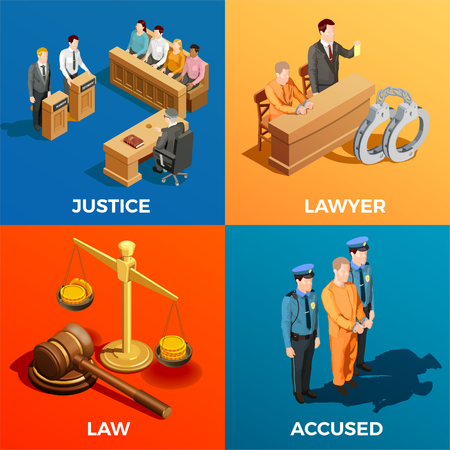 Law isometric design concept compositions of judge jury lawyer and accused human characters during legal trial vector illustration Vettoriali