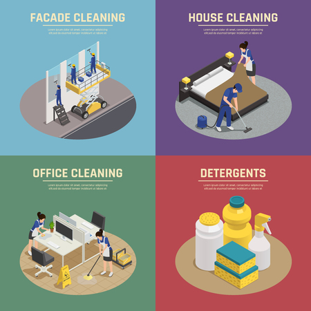 Isometric compositions with professional cleaning of facade buildings, office, house, detergents and washing tools vector illustration