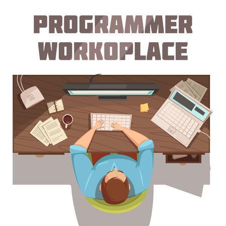 Het beeldverhaalconcept van de programmeurwerkplaats met koffiedocumenten en computer vectorillustratie
