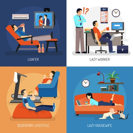 lounging: Lazy people at work and at home compositions including housewife on sofa sitting lifestyle isolated vector illustration