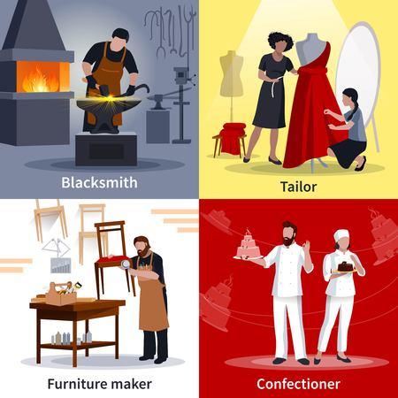 Ambachtslieden op het werk 4 vlakke poster van de pictogrammen vierkante samenstelling met het meubilairmaker geïsoleerde vectorillustratie van de kleermakersmid Stock Illustratie