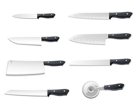 アイコンを設定すると分離の現実的なナイフ シャープ ピザ肉パン魚ベクトル図用ブレード