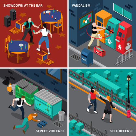 Hooliganism isometric compositions with fight at bar and self defense street violence and vandalism isolated vector illustration Illustration