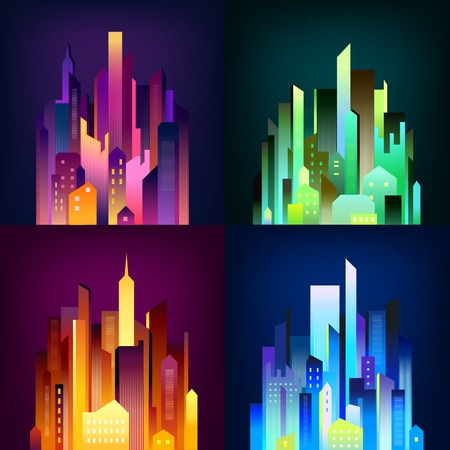 Night city downtown skyscrapers and business center edifices in colorful illumination lights 4 icons square poster vector illustration Çizim