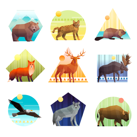 Kleurrijk veelhoekig embleem van verschillende die vorm met wilde dieren en vogels wordt geplaatst op witte vectorillustratie worden geïsoleerd als achtergrond Stock Illustratie