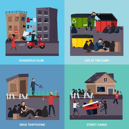 Vier vierkante platte getto krottenwijk pictogrammenset met gevaarlijke sloppenwijk straat bendes drug trafficking beschrijvingen vector illustratie