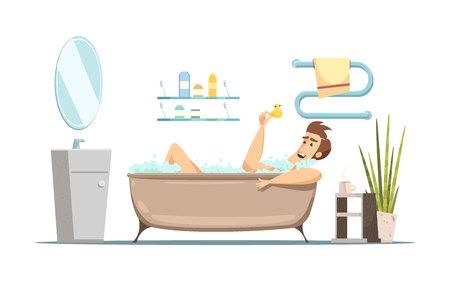 男性浴室フラット ベクトル図でお風呂と衛生をテーマにレトロな漫画構成