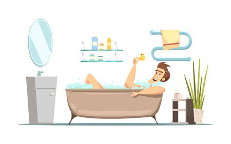 Retro cartoon composition in hygiene theme with man taking bath in bathroom flat vector illustration