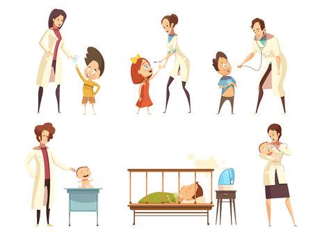 Kranke Babykinderpatientenbehandlung in den Retro- Karikatursituationenikonen des Krankenhauses, die mit Krankenschwestern eingestellt wurden, lokalisierte Vektorillustration Standard-Bild - 82413113