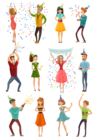streamers: Birthday party celebrating people 12 figures collection in funny hats with colorful confetti streamers isolated vector illustration