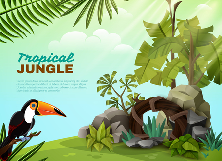 Tropical jungle landscape design composition with rock garden elements toucan bird and plants background poster vector illustration Illustration