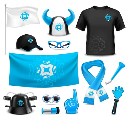 Sport club team supporters identity accessories realistic images collection with flag cap glasses waving hand vector illustration Illustration
