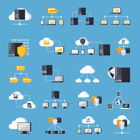 Hosting services icons set on blue background flat isolated vector illustration Illustration