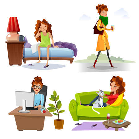 Working woman daily routine activities from waking up 4 cartoon style icons square comics isolated vector illustration Çizim