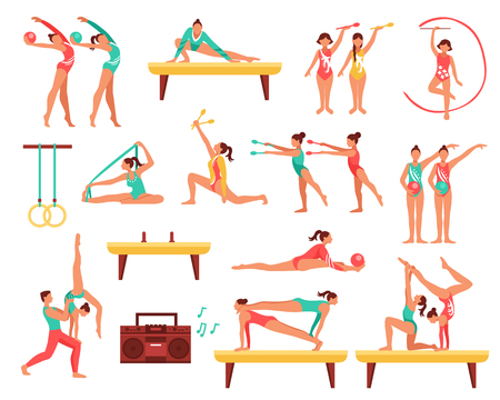 Decorative icons set with gymnastics including girls with sports tools and acrobatics on beam isolated vector illustration Illustration