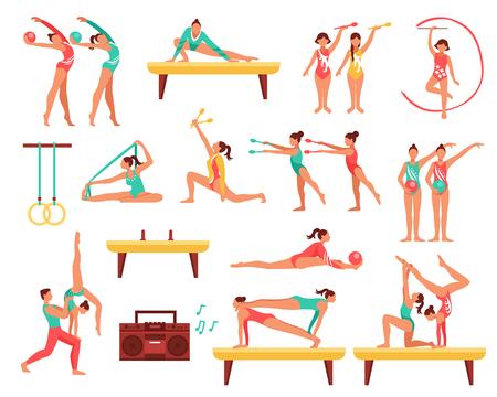 Ikony ozdobnych zestaw z gimnastyką, w tym dziewcząt z narzędziami sportowymi i akrobatyka na ilustracji wektorowych wiązki pojedyncze Ilustracje wektorowe