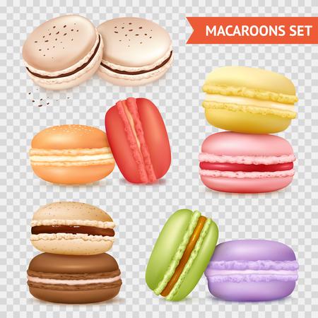 グループ別の色ベクトル図の 2 つのアーモンド ケーキの透明な背景に分離のマカロンの画像を設定します。