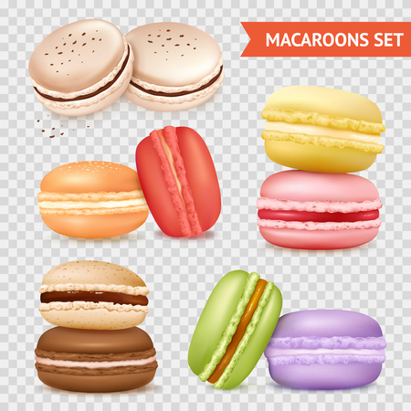 Isolated macaroons images set on transparent background with groups of two almond cakes of different colour vector illustration Иллюстрация