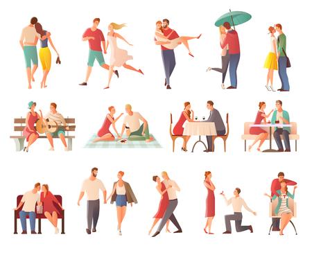 innamorati che si baciano: La raccolta romantica piana dei caratteri delle coppie di datazione romantica della cena con gli amanti che bacia andando per la passeggiata che dà l'illustrazione di vettore dei regali