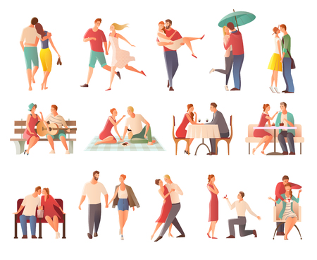 Romantic dinner dating couples flat isolated characters collection with lovers kissing going for walk giving gifts vector illustration Vetores