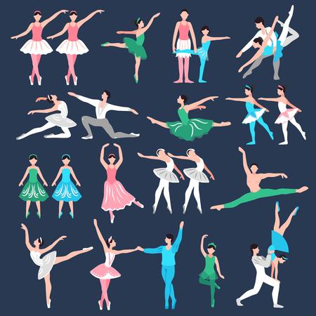 Reeks balletdansers in de leraar van het stadiumkostuum en de kleine ballerina's op zwarte achtergrond isoleerden vectorillustratie