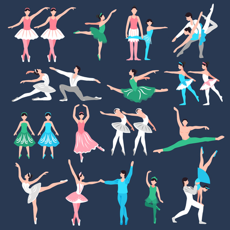 Set of ballet dancers in stage costume teacher and little ballerinas on black background isolated vector illustration