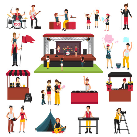 music: Open air festival isolated icons collection with human characters of fest visitors families musicians soda jerks vector illustration.