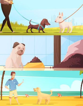Le insegne orizzontali del cane messe con il fumetto di simboli di camminata hanno isolato l'illustrazione di vettore. Archivio Fotografico - 82439055