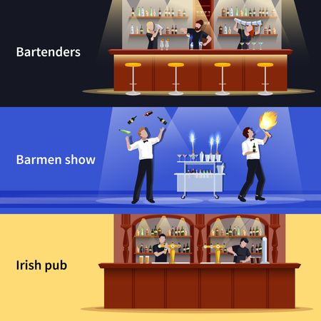 Three horizontal cocktail people banner set with bartenders barmen show and irish pub descriptions vector illustration.