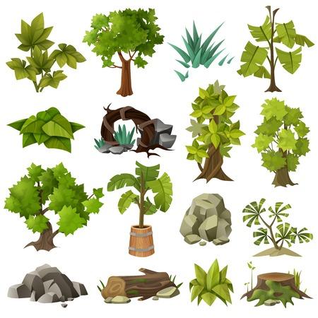 녹색 열 대 이국적인 식물 포리스트 나무와 현대적인 조경 원 예 디자인 요소 아이콘 컬렉션 격리 벡터 일러스트 레이 션.