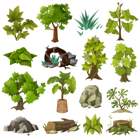 Green tropical exotic plants forest trees and modern landscape gardening design elements icons collection  isolated vector illustration.