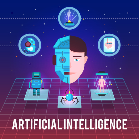 Artificial intelligence illustration with cyborg face hi-tech icons and robotic figures on stellar background vector illustration. Ilustrace
