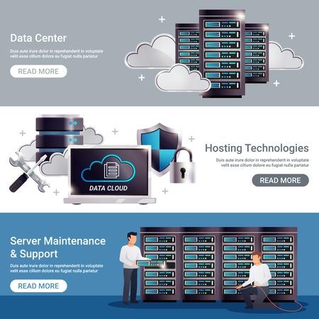 Three horizontal datacenter horizontal banner set with data center hosting technologies server maintenance support descriptions vector illustration.