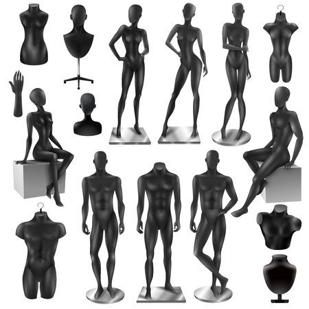 Detailhandel weergave zwart realistisch mode vrouwelijk mannelijk lichaam en gedeeltelijke mannequins collectie geïsoleerd vectorillustratie