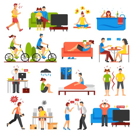 Isometric icons set of different ways of relaxation after stress and stressful working days isolated on white background vector illustration Illustration