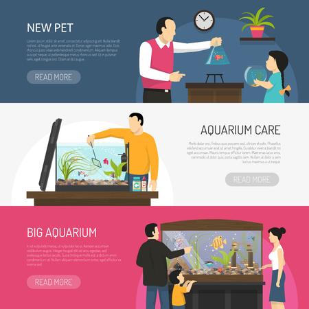 水平フラット水族館バナーを見ている人々 と、ベクトル図を分離した魚を購入